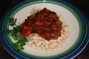 Rattlesnake chili over white beans is really good. I also make tacos.